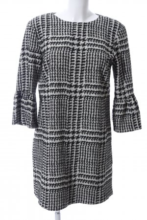 Zara Woman Shirtkleid hellgrau-schwarz Allover-Druck Elegant