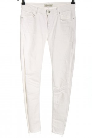 Zara Woman Skinny Jeans wollweiß Casual-Look