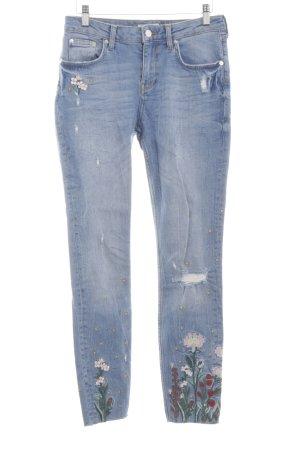 Zara Woman Skinny Jeans blau Blumenmuster Casual-Look