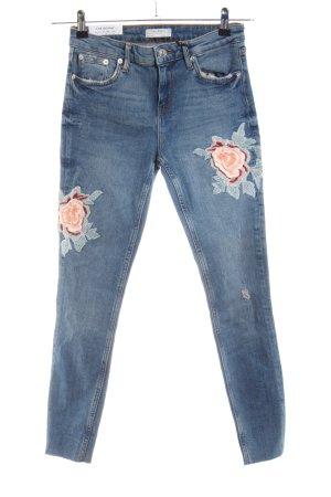 Zara Woman Skinny jeans blauw bloemenprint casual uitstraling