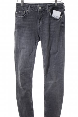 Zara Woman Skinny Jeans anthrazit Used-Optik