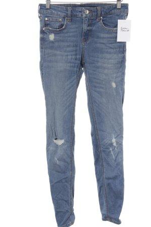 Zara Woman Skinny Jeans himmelblau Destroy-Optik