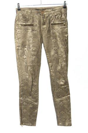 Zara Woman Slim Jeans wollweiß-hellgrau Allover-Druck extravaganter Stil