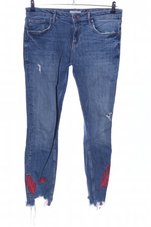 Zara Woman Slim Jeans blue flower pattern casual look
