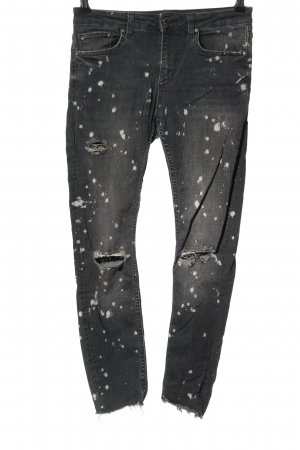 Zara Woman Slim Jeans schwarz-weiß abstraktes Muster Casual-Look