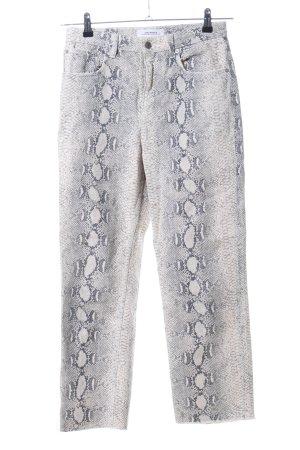 Zara Woman Slim Jeans hellgrau-wollweiß Animalmuster Casual-Look