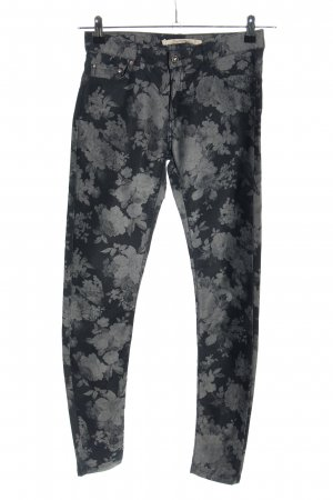 Zara Woman Slim Jeans schwarz-hellgrau Allover-Druck Casual-Look