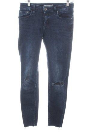 Zara Woman Slim Jeans blau Street-Fashion-Look
