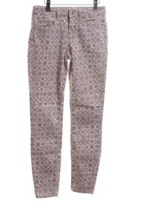 Zara Woman Slim Jeans braun-wollweiß Allover-Druck Casual-Look