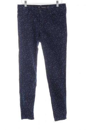 Zara Woman Slim Jeans dunkelblau-stahlblau Blumenmuster schlichter Stil