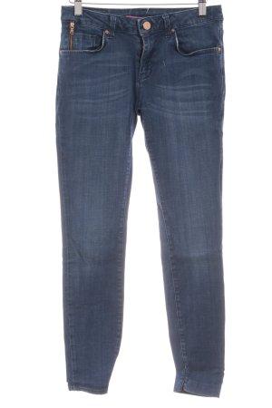 Zara Woman Slim Jeans stahlblau-wollweiß Casual-Look