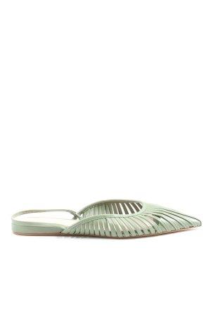 Zara Woman Slingback Ballerinas grün Casual-Look