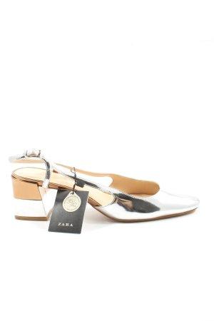 Zara Woman Slingback-Pumps silberfarben Elegant