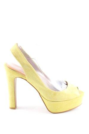 Zara Woman Escarpin à bride arrière jaune primevère style d'affaires