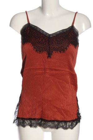 Zara Woman Spaghettiträger Top rot-schwarz Casual-Look