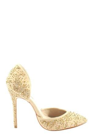 Zara Woman Spitz-Pumps wollweiß-goldfarben Elegant