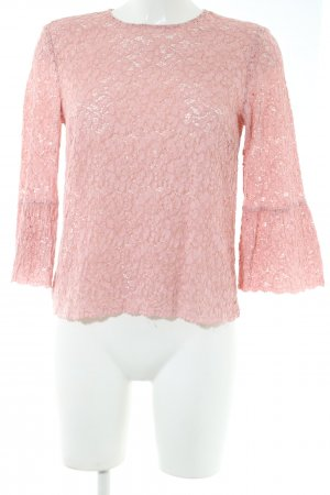 Zara Woman Spitzenbluse pink Business-Look