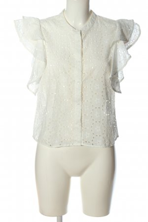 Zara Woman Spitzenbluse weiß Casual-Look