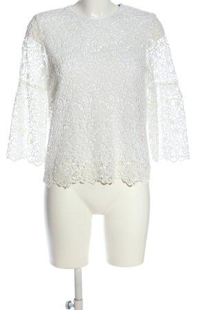 Zara Woman Spitzenbluse weiß Business-Look