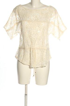 Zara Woman Koronkowa bluzka w kolorze białej wełny Imprezowy wygląd