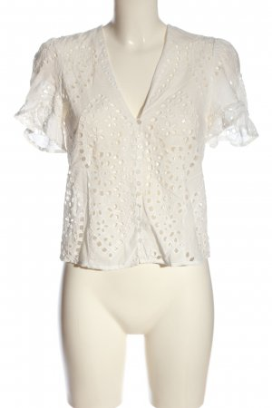 Zara Woman Kanten blouse wit volledige print casual uitstraling