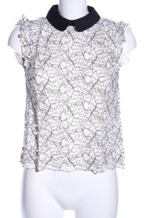 Zara Woman Spitzenbluse weiß-schwarz Blumenmuster Business-Look