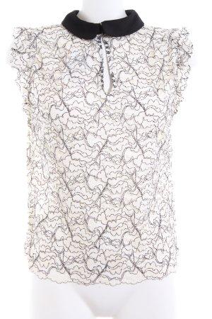 Zara Woman Spitzenbluse schwarz-weiß Allover-Druck Business-Look