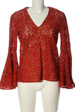Zara Woman Koronkowa bluzka czerwony W stylu biznesowym