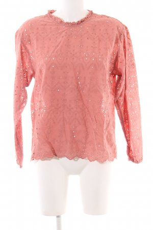 Zara Woman Spitzenbluse pink grafisches Muster Casual-Look