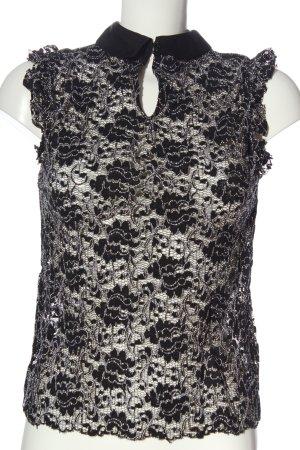 Zara Woman Spitzenbluse schwarz-weiß Allover-Druck Elegant