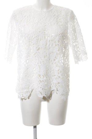 Zara Woman Spitzenbluse weiß Blumenmuster Elegant