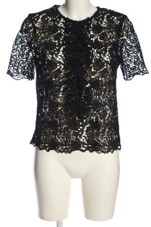 Zara Woman Spitzenbluse schwarz Elegant