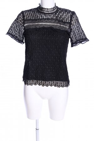 Zara Woman Spitzenbluse schwarz Mustermix Casual-Look