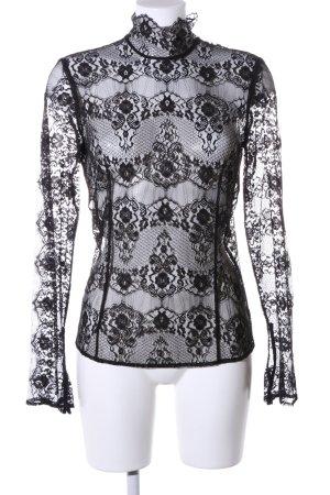 Zara Woman Spitzenbluse schwarz Blumenmuster Elegant