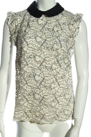 Zara Woman Spitzenbluse wollweiß-schwarz Blumenmuster Casual-Look