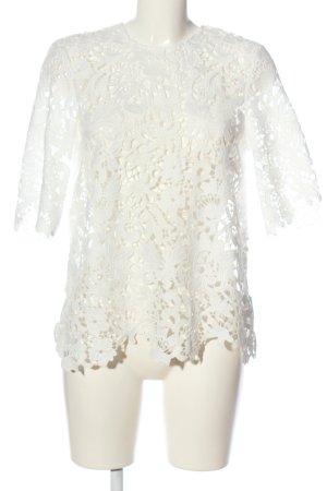 Zara Woman Spitzenbluse weiß Webmuster Casual-Look