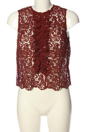 Zara Woman Spitzenbluse rot Casual-Look