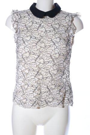 Zara Woman Spitzenbluse weiß-schwarz Allover-Druck Business-Look