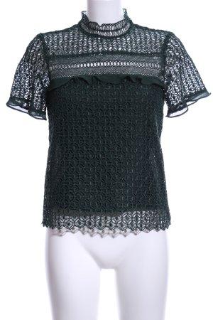 Zara Woman Spitzenbluse dunkelgrün Casual-Look