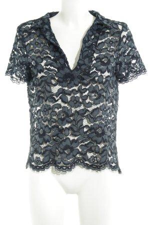 Zara Woman Spitzenbluse petrol-dunkelblau florales Muster Casual-Look