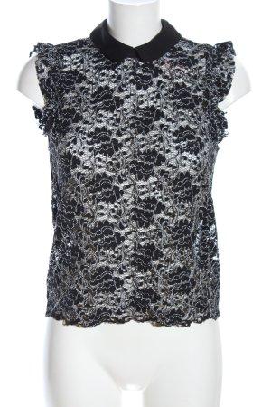 Zara Woman Spitzenbluse schwarz Blumenmuster Business-Look