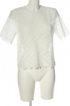 Zara Woman Blouse en dentelle blanc style décontracté