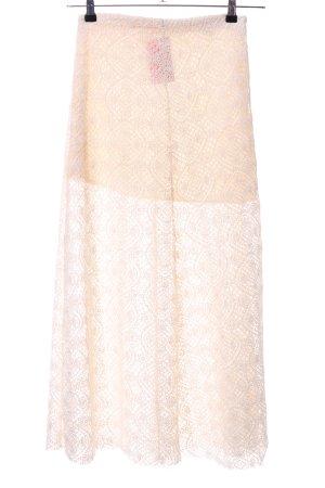 Zara Woman Spitzenrock creme grafisches Muster Party-Look