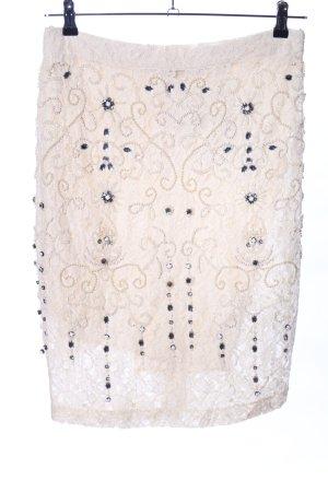 Zara Woman Falda de encaje blanco puro estampado floral look casual