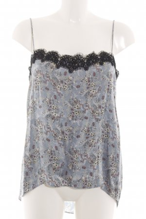 Zara Woman Lace Top blue allover print casual look