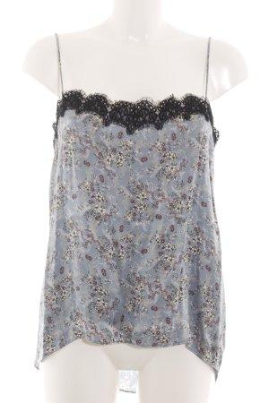 Zara Woman Spitzentop blau Allover-Druck Casual-Look