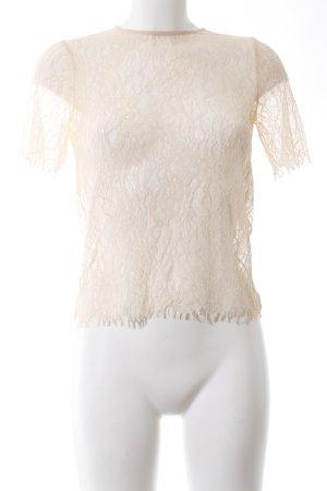 Zara Woman Top de encaje crema look casual