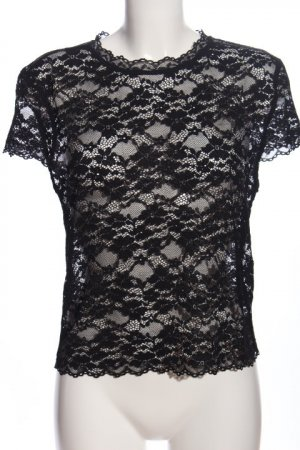 Zara Woman Top de encaje negro elegante