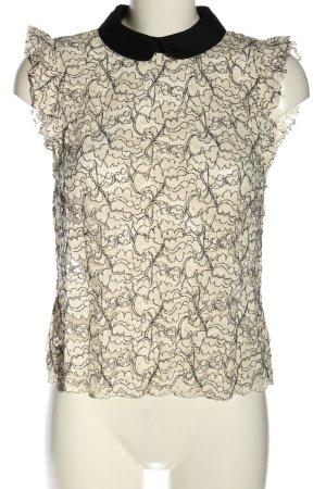 Zara Woman Top de encaje blanco puro-negro estampado con diseño abstracto