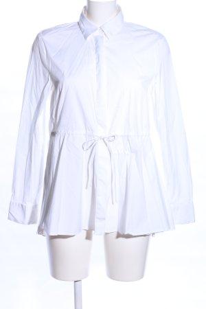 Zara Woman Blusa de cuello alto blanco look casual